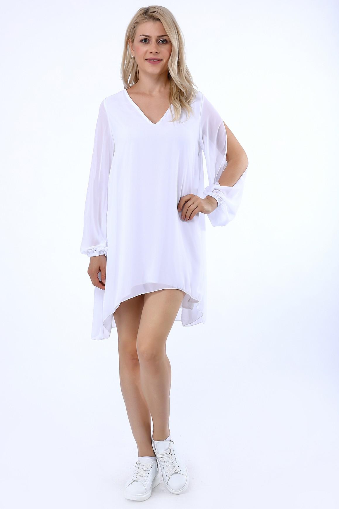 9f49abeea5b51 Kolları Yırtmaçlı Şifon Elbise